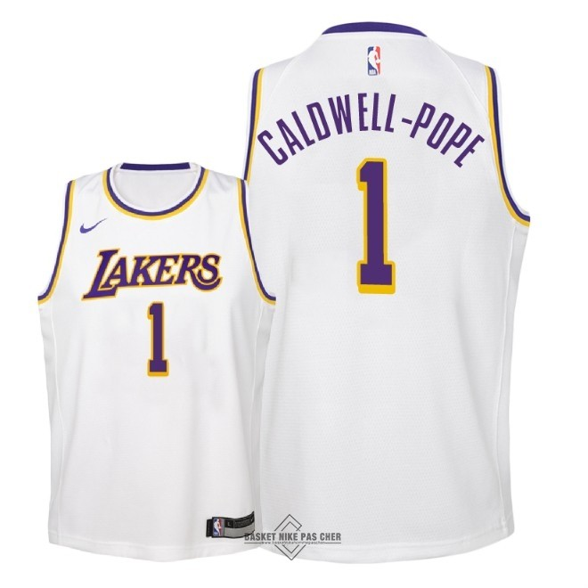 Maillot NBA Pas Cher - Maillot NBA Enfant Los Angeles Lakers NO.1 Kentavious Caldwell Pope Blanc Association 2018-19