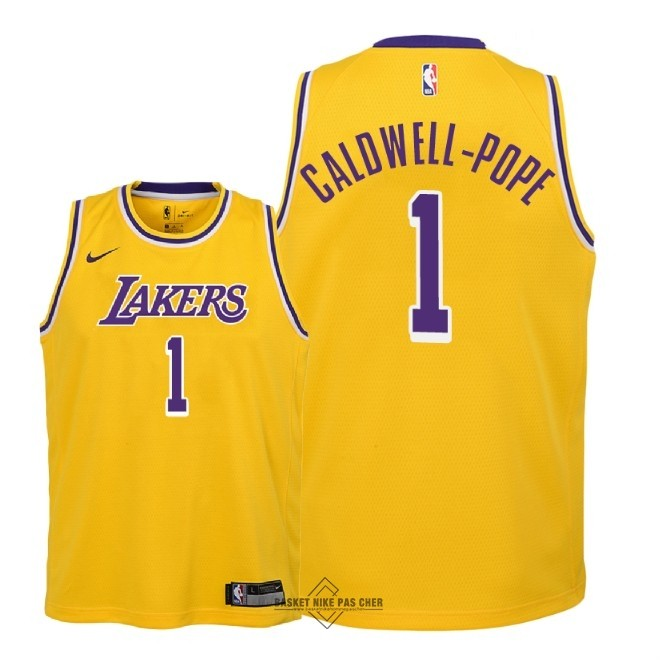 Maillot NBA Pas Cher - Maillot NBA Enfant Los Angeles Lakers NO.1 Kentavious Caldwell Pope Jaune Icon 2018-19