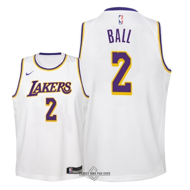 Maillot NBA Pas Cher - Maillot NBA Enfant Los Angeles Lakers NO.2 Lonzo Ball Blanc Association 2018-19