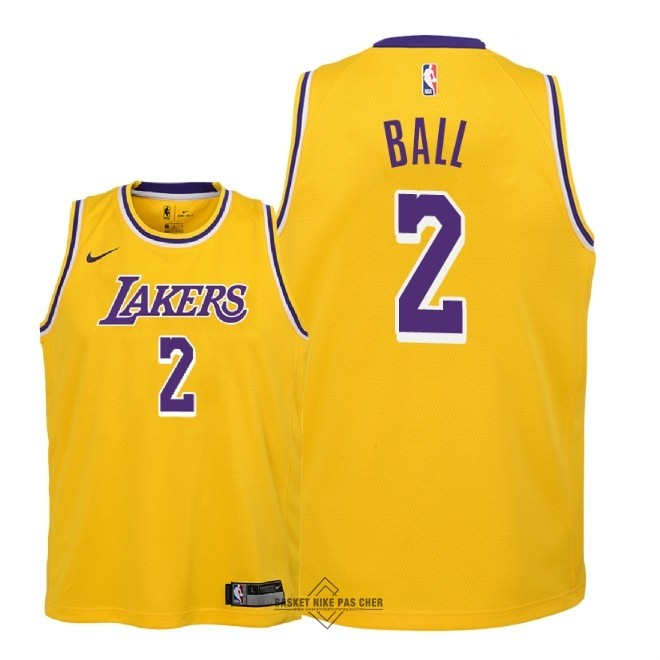 Maillot NBA Pas Cher - Maillot NBA Enfant Los Angeles Lakers NO.2 Lonzo Ball Jaune Icon 2018-19