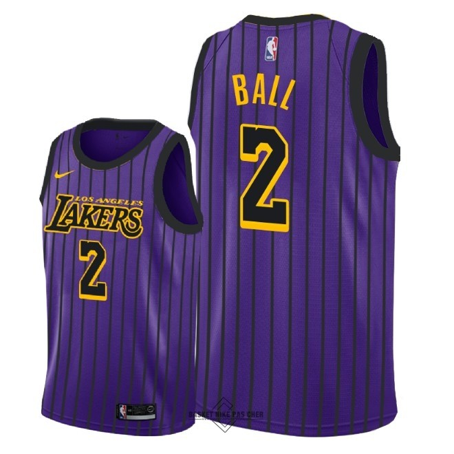 Maillot NBA Pas Cher - Maillot NBA Enfant Los Angeles Lakers NO.2 Lonzo Ball Nike Pourpre Ville 2018-19
