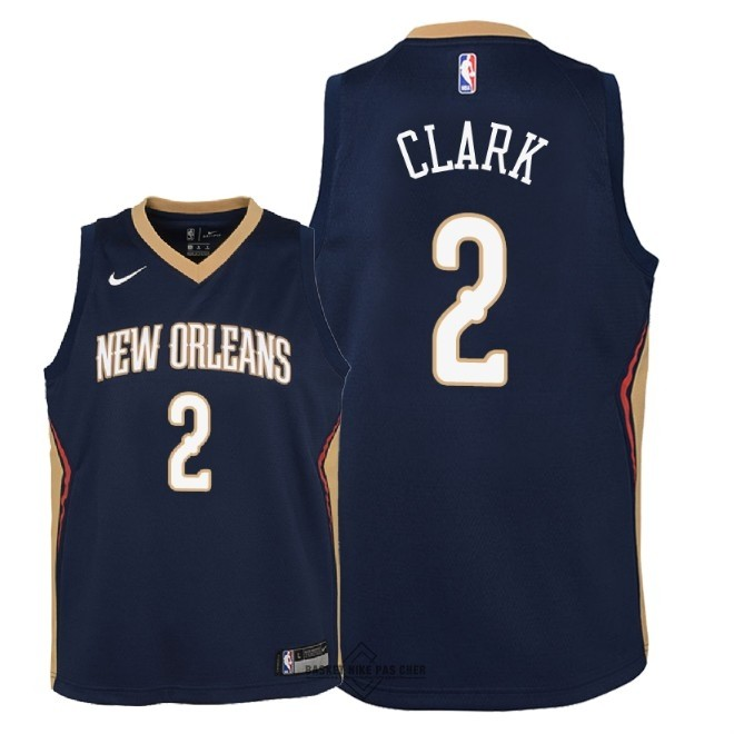Maillot NBA Pas Cher - Maillot NBA Enfant New Orleans Pelicans NO.2 Ian Clark Marine Icon 2018
