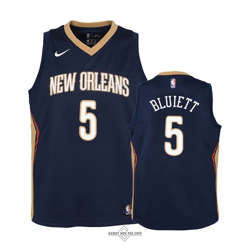 Maillot NBA Pas Cher - Maillot NBA Enfant New Orleans Pelicans NO.5 Trevon Bluiett Marine Icon 2018
