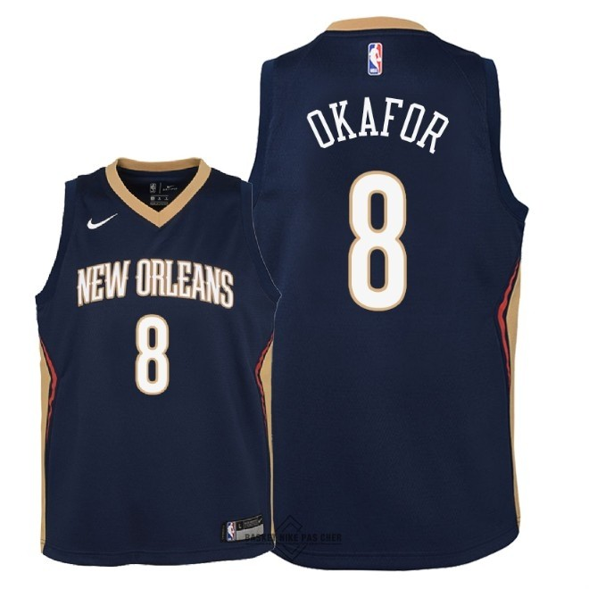 Maillot NBA Pas Cher - Maillot NBA Enfant New Orleans Pelicans NO.8 Jahlil Okafor Marine Icon 2018