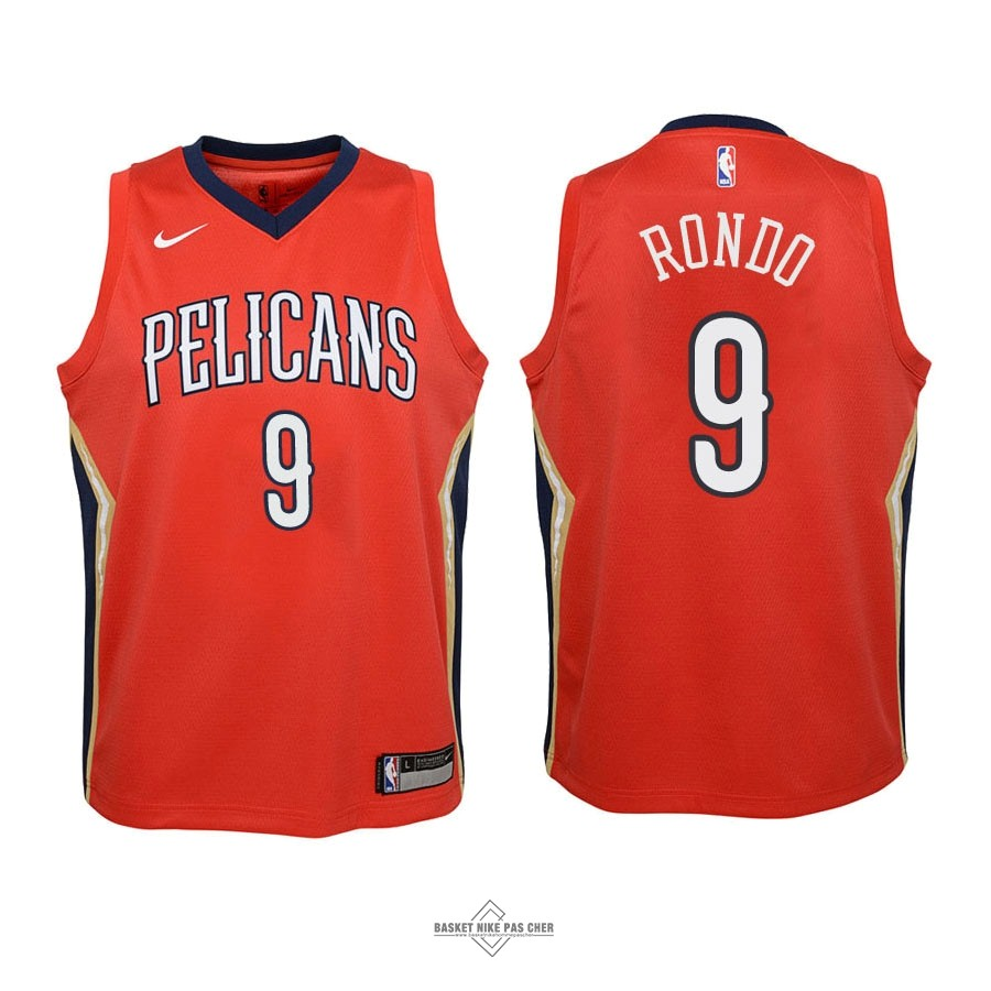 Maillot NBA Pas Cher - Maillot NBA Enfant New Orleans Pelicans NO.9 Rajon Rondo Rouge Statement 2018