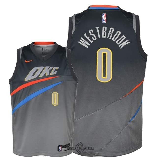 Maillot NBA Pas Cher - Maillot NBA Enfant Oklahoma City Thunder NO.0 Russell Westbrook Nike Gris Ville 2018