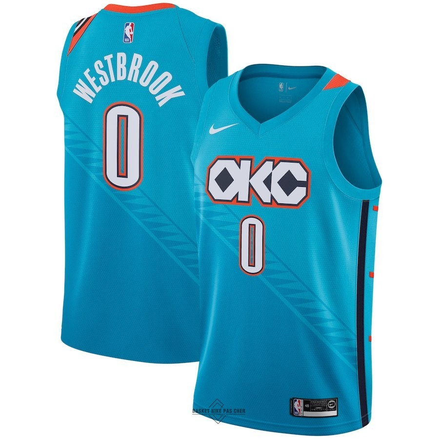 Maillot NBA Pas Cher - Maillot NBA Enfant Oklahoma City Thunder NO.0 Russell Westbrook Nike Turquoise Ville 2018-19