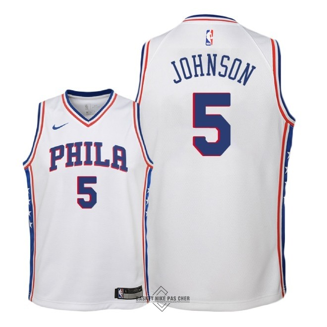 Maillot NBA Pas Cher - Maillot NBA Enfant Philadelphia Sixers NO.5 Amir Johnson Blanc Association 2018