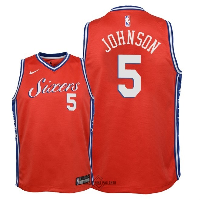 Maillot NBA Pas Cher - Maillot NBA Enfant Philadelphia Sixers NO.5 Amir Johnson Rouge Statement 2018