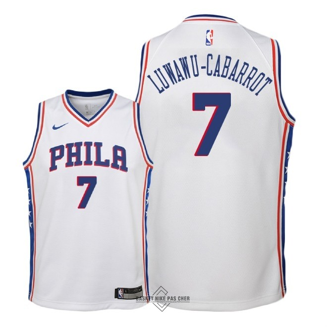 Maillot NBA Pas Cher - Maillot NBA Enfant Philadelphia Sixers NO.7 Timothe Luwawu Cabarrot Blanc Association 2018