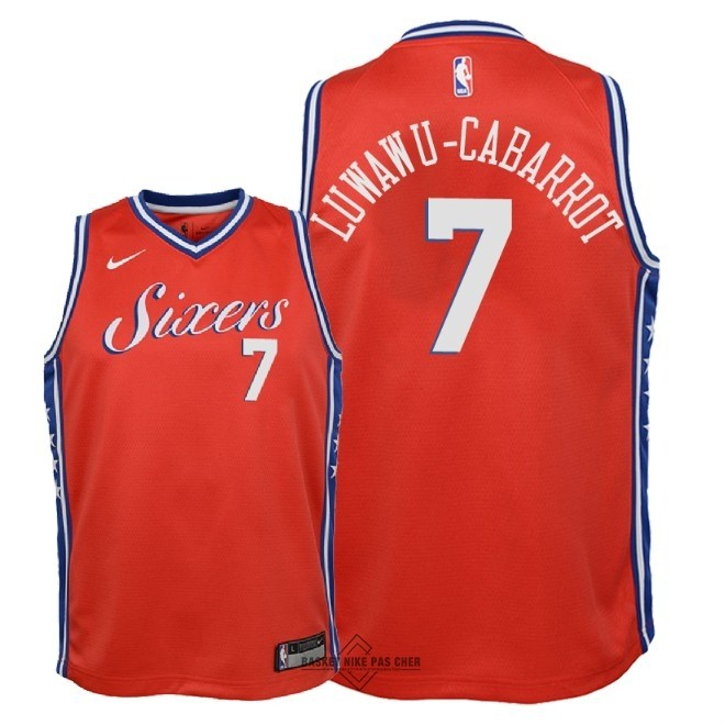 Maillot NBA Pas Cher - Maillot NBA Enfant Philadelphia Sixers NO.7 Timothe Luwawu Cabarrot Rouge Statement 2018
