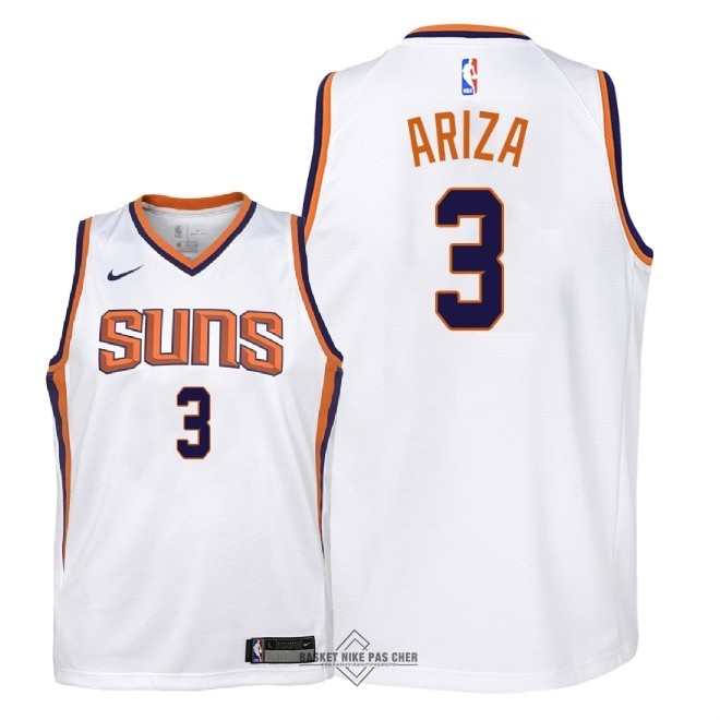 Maillot NBA Pas Cher - Maillot NBA Enfant Phoenix Suns NO.3 Trevor Ariza Blanc Association 2018