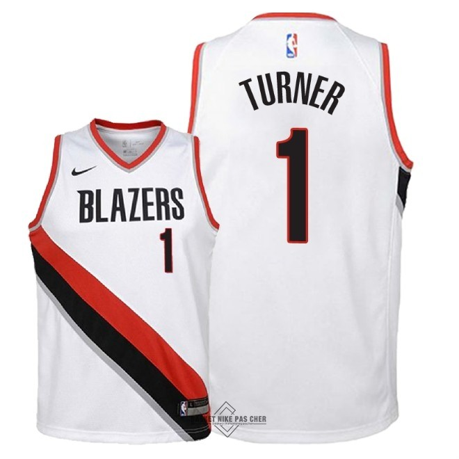 Maillot NBA Pas Cher - Maillot NBA Enfant Portland Trail Blazers NO.1 Evan Turner Blanc Association 2018