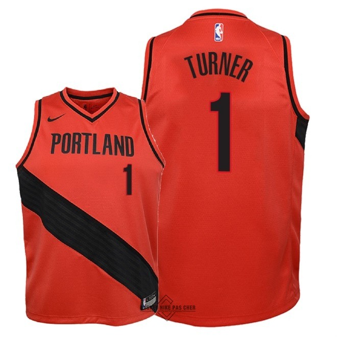 Maillot NBA Pas Cher - Maillot NBA Enfant Portland Trail Blazers NO.1 Evan Turner Rouge Statement 2018
