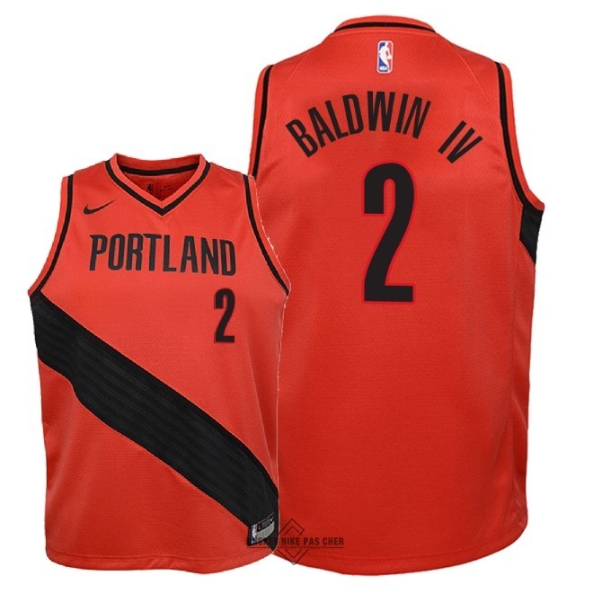 Maillot NBA Pas Cher - Maillot NBA Enfant Portland Trail Blazers NO.2 Wade Baldwin IV Rouge Statement 2018