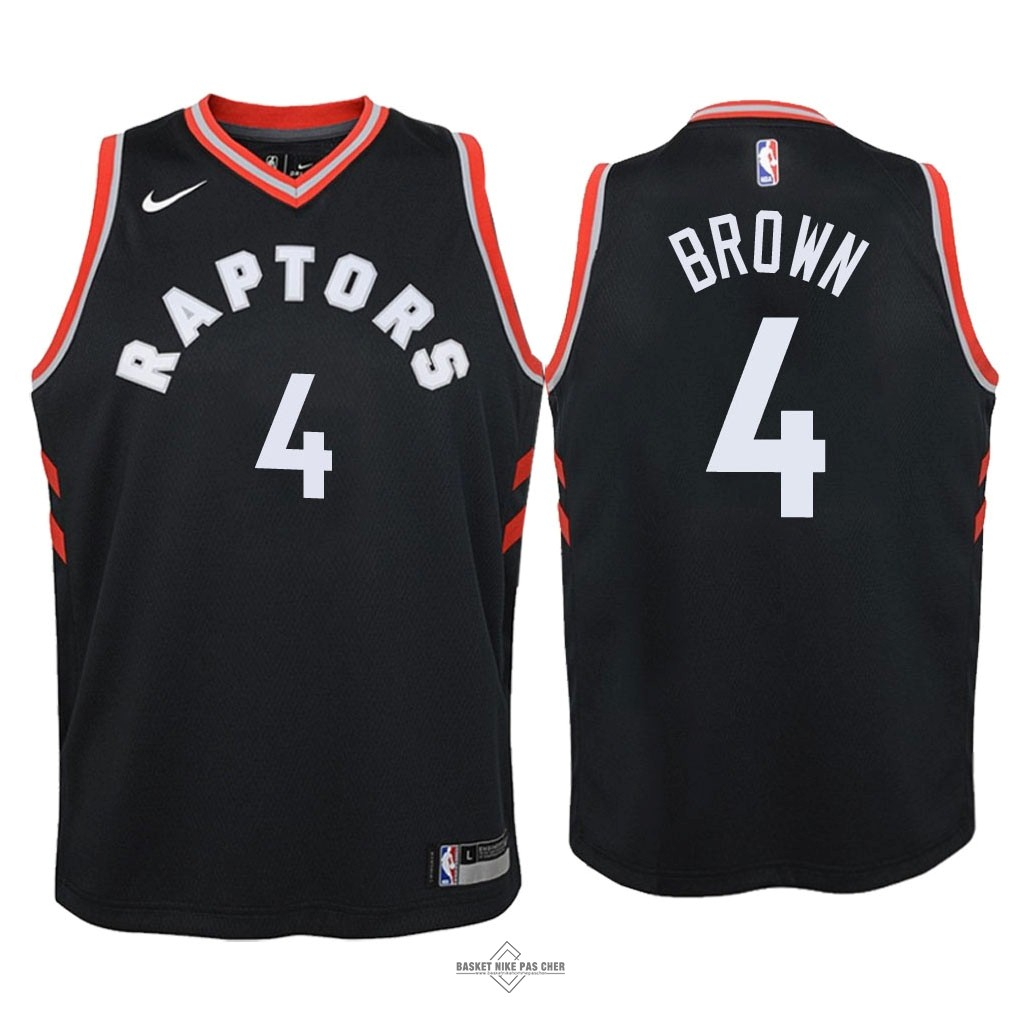 Maillot NBA Pas Cher - Maillot NBA Enfant Toronto Raptors NO.4 Lorenzo Brown Noir Statement 2018