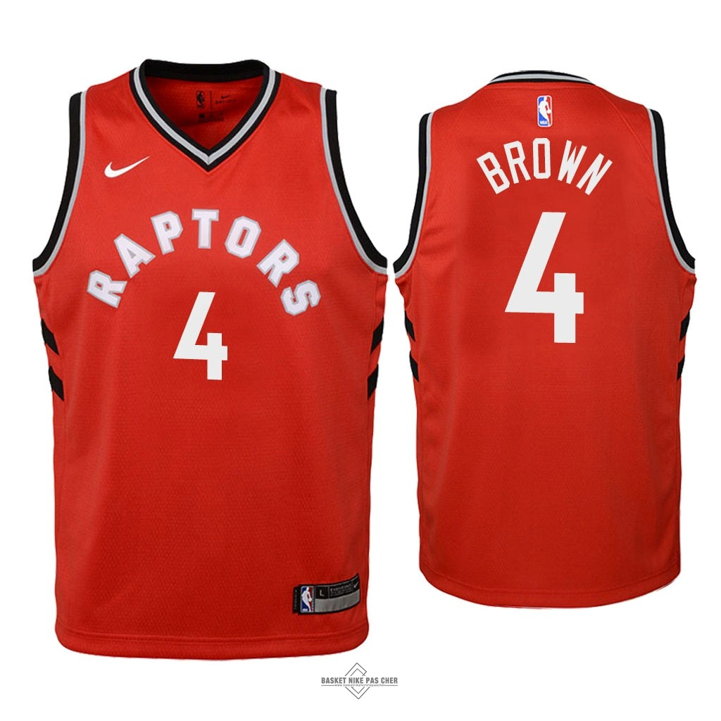 Maillot NBA Pas Cher - Maillot NBA Enfant Toronto Raptors NO.4 Lorenzo Brown Rouge Icon 2018
