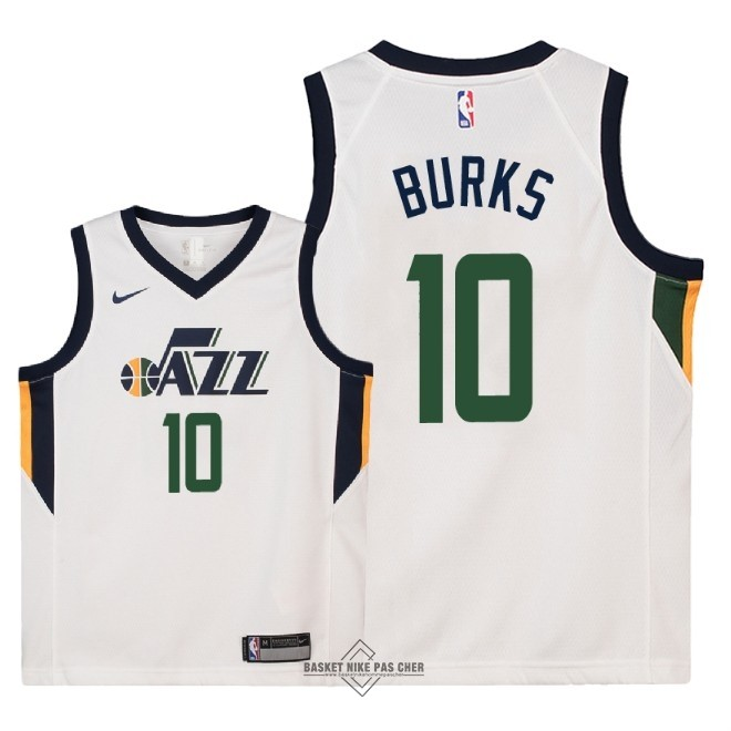 Maillot NBA Pas Cher - Maillot NBA Enfant Utah Jazz NO.10 Alec Burks Blanc Association 2018