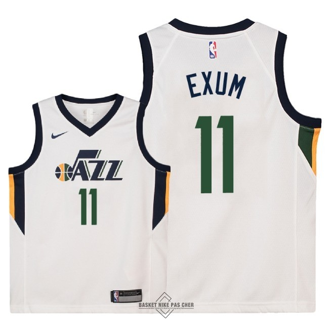 Maillot NBA Pas Cher - Maillot NBA Enfant Utah Jazz NO.11 Dante Exum Blanc Association 2018