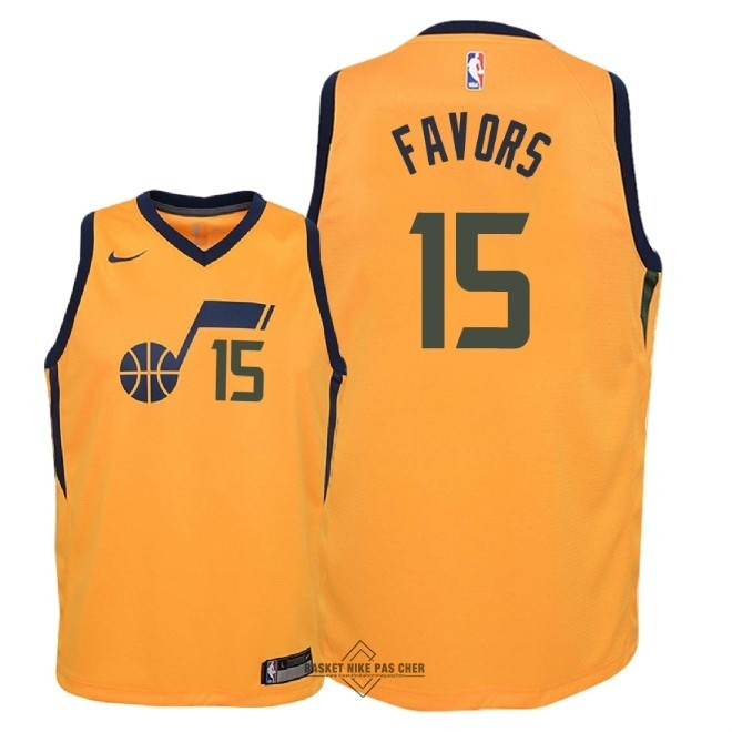 Maillot NBA Pas Cher - Maillot NBA Enfant Utah Jazz NO.15 Derrick Favors Jaune Statement 2018