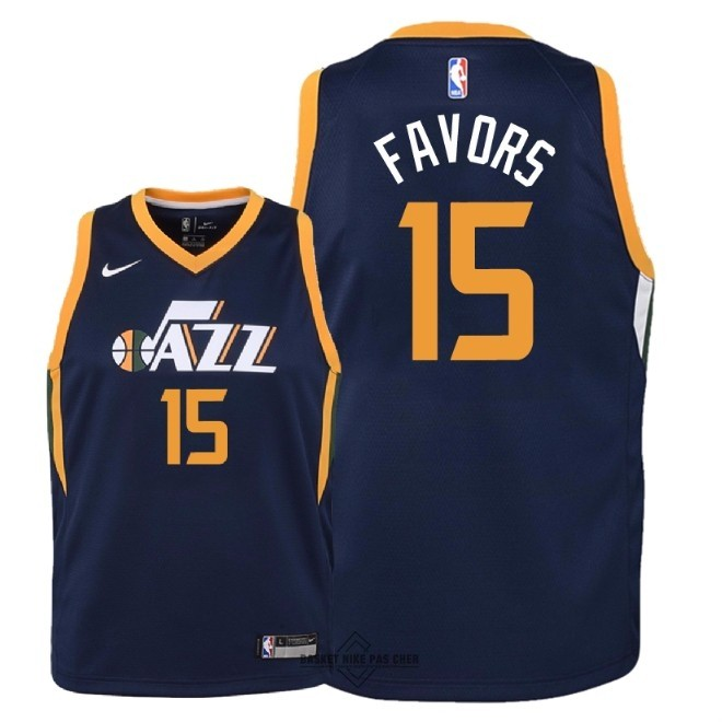 Maillot NBA Pas Cher - Maillot NBA Enfant Utah Jazz NO.15 Derrick Favors Marine Icon 2018