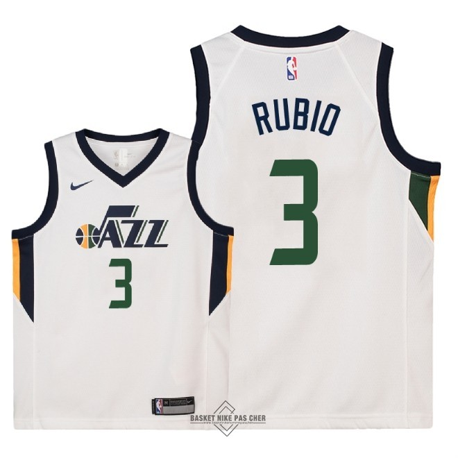 Maillot NBA Pas Cher - Maillot NBA Enfant Utah Jazz NO.3 Ricky Rubio Blanc Association 2018