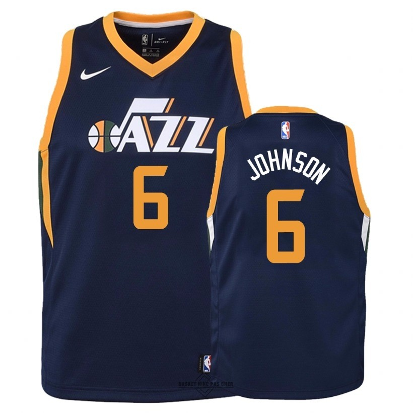 Maillot NBA Pas Cher - Maillot NBA Enfant Utah Jazz NO.6 Joe Johnson Marine Icon 2018