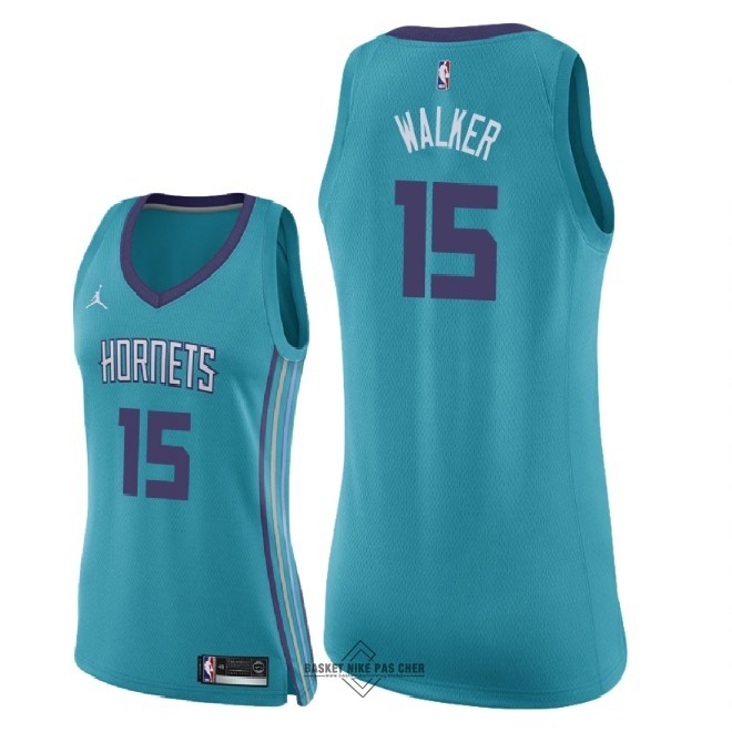 Maillot NBA Pas Cher - Maillot NBA Femme Charlotte Hornets NO.15 Kemba Walker Vert Icon 2018