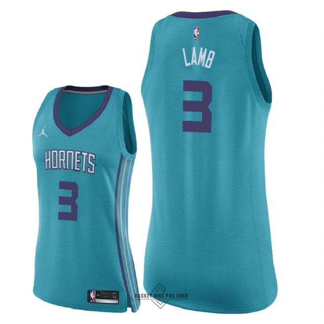 Maillot NBA Pas Cher - Maillot NBA Femme Charlotte Hornets NO.3 Jeremy Lamb Vert Icon 2018