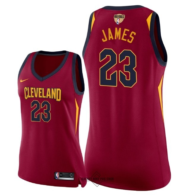 Maillot NBA Pas Cher - Maillot NBA Femme Cleveland Cavaliers 2018 Final Champions NO.23 LeBron James Rouge Icon Patch