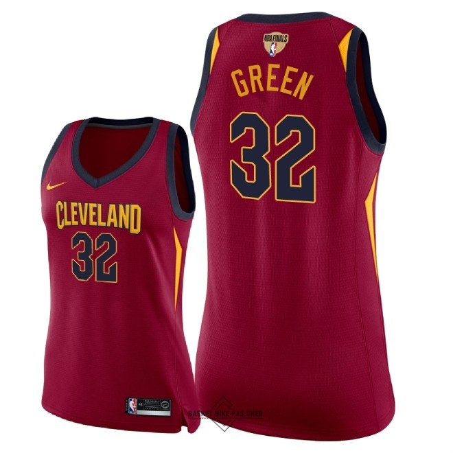 Maillot NBA Pas Cher - Maillot NBA Femme Cleveland Cavaliers 2018 Final Champions NO.32 Jeff Green Rouge Icon Patch