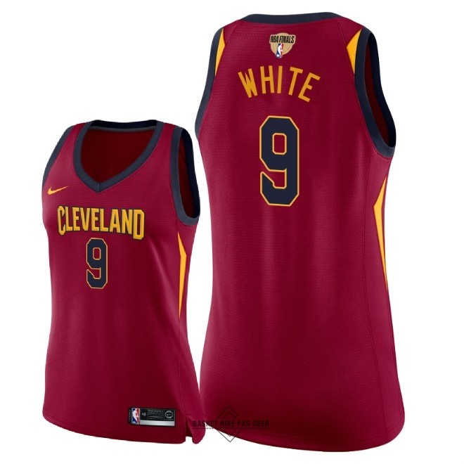 Maillot NBA Pas Cher - Maillot NBA Femme Cleveland Cavaliers 2018 Final Champions NO.9 Okaro White Rouge Icon Patch