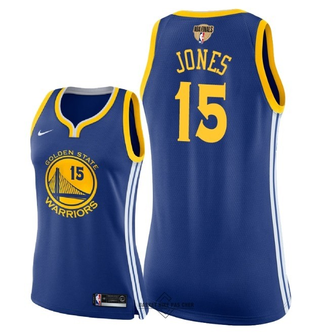Maillot NBA Pas Cher - Maillot NBA Femme Golden State Warriors 2018 Final Champions NO.15 Damian Jones Bleu Icon Patch