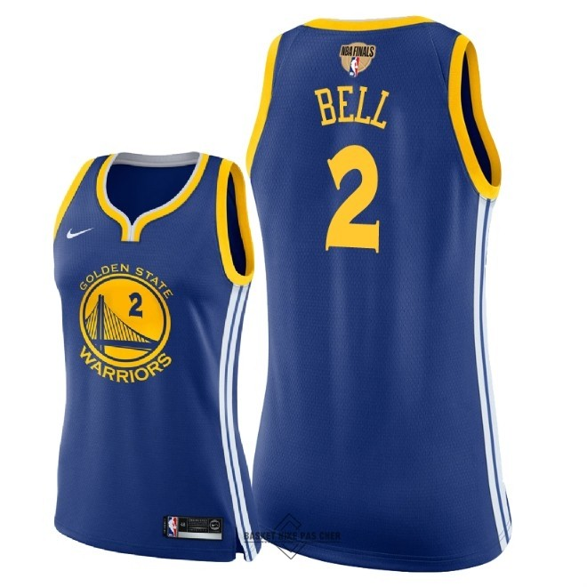 Maillot NBA Pas Cher - Maillot NBA Femme Golden State Warriors 2018 Final Champions NO.2 Jordan Bell Bleu Icon Patch