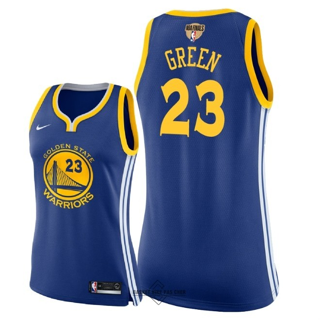 Maillot NBA Pas Cher - Maillot NBA Femme Golden State Warriors 2018 Final Champions NO.23 Draymond Green Bleu Icon Patch