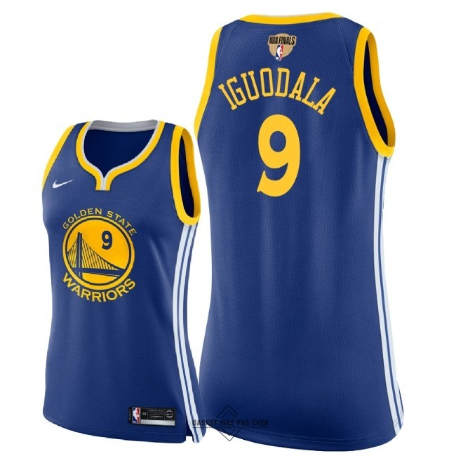 Maillot NBA Pas Cher - Maillot NBA Femme Golden State Warriors 2018 Final Champions NO.9 Andre Iguodala Bleu Icon Patch