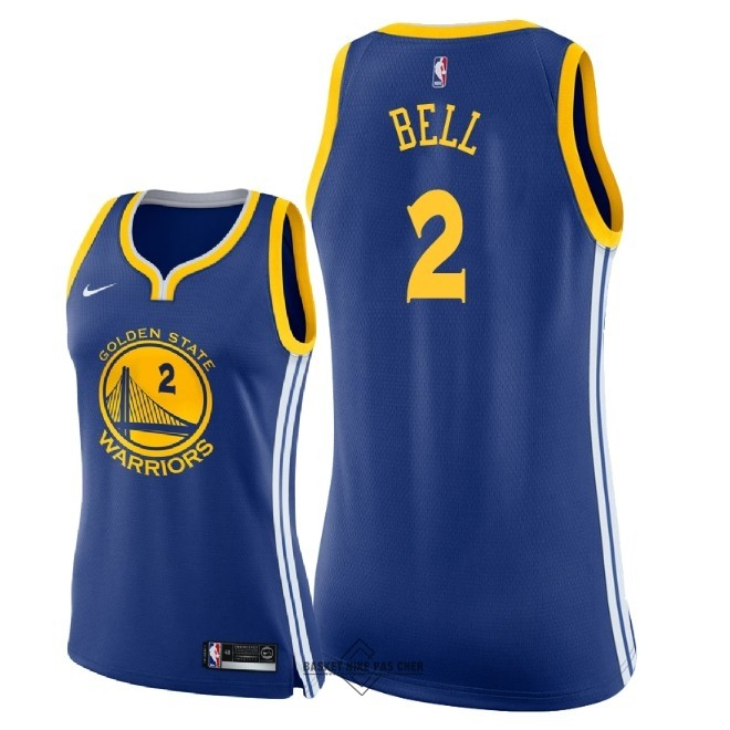 Maillot NBA Pas Cher - Maillot NBA Femme Golden State Warriors NO.2 Jordan Bell Bleu Icon 2018