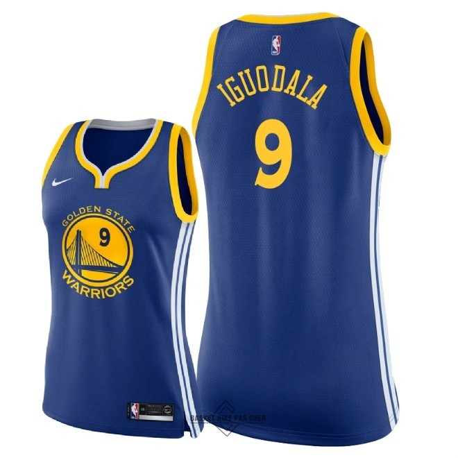 Maillot NBA Pas Cher - Maillot NBA Femme Golden State Warriors NO.9 Andre Iguodala Bleu Icon 2018