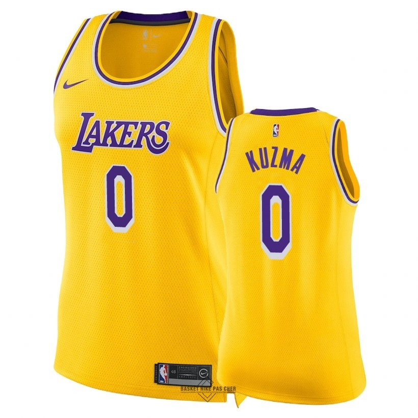 Maillot NBA Pas Cher - Maillot NBA Femme Los Angeles Lakers NO.0 Kyle Kuzma Jaune Icon 2018-19