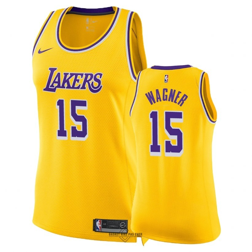 Maillot NBA Pas Cher - Maillot NBA Femme Los Angeles Lakers NO.15 Moritz Wagner Jaune Icon 2018-19