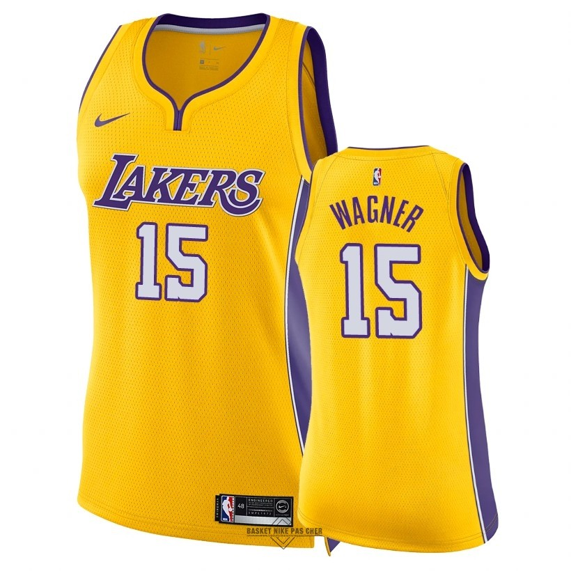 Maillot NBA Pas Cher - Maillot NBA Femme Los Angeles Lakers NO.15 Moritz Wagner Jaune Icon 2018