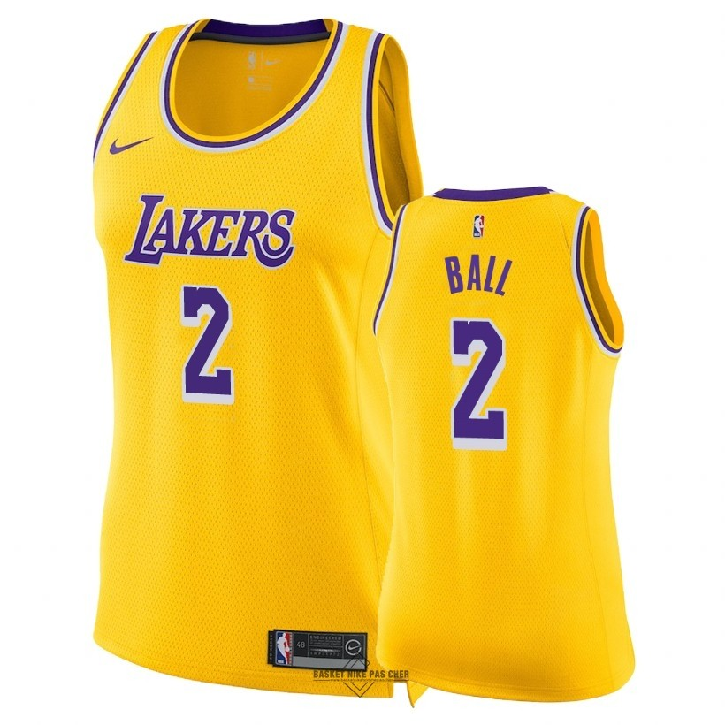 Maillot NBA Pas Cher - Maillot NBA Femme Los Angeles Lakers NO.2 Lonzo Ball Jaune Icon 2018-19