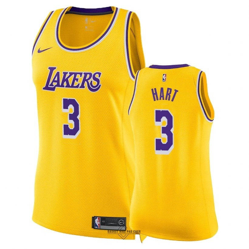 Maillot NBA Pas Cher - Maillot NBA Femme Los Angeles Lakers NO.3 Josh Hart Jaune Icon 2018-19