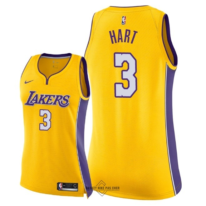 Maillot NBA Pas Cher - Maillot NBA Femme Los Angeles Lakers NO.3 Josh Hart Jaune Icon 2018