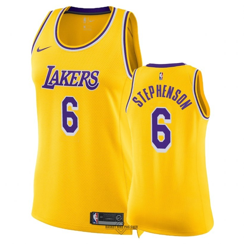 Maillot NBA Pas Cher - Maillot NBA Femme Los Angeles Lakers NO.6 Lance Stephenson Jaune Icon 2018-19