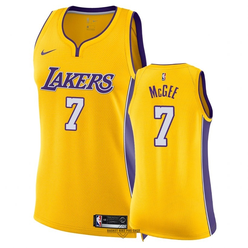 Maillot NBA Pas Cher - Maillot NBA Femme Los Angeles Lakers NO.7 JaVale McGee Jaune Icon 2018