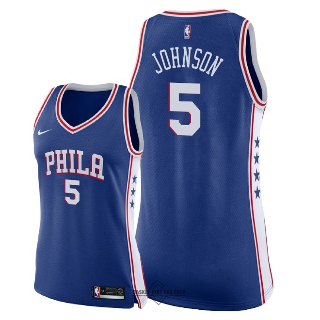 Maillot NBA Pas Cher - Maillot NBA Femme Philadelphia Sixers NO.5 Amir Johnson Bleu Icon 2018