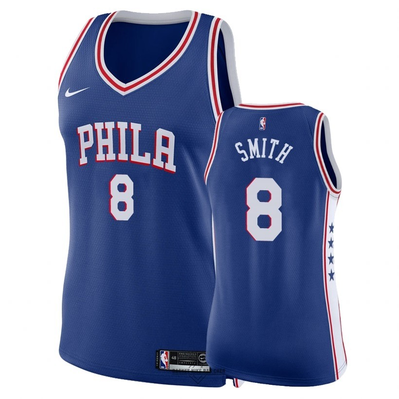 Maillot NBA Pas Cher - Maillot NBA Femme Philadelphia Sixers NO.8 Zhaire Smith Bleu Icon 2018
