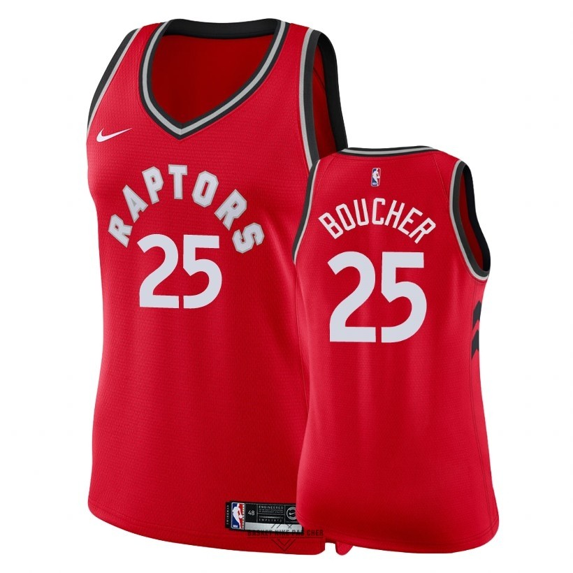 Maillot NBA Pas Cher - Maillot NBA Femme Toronto Raptors NO.25 Chris Boucher Rouge Icon 2018