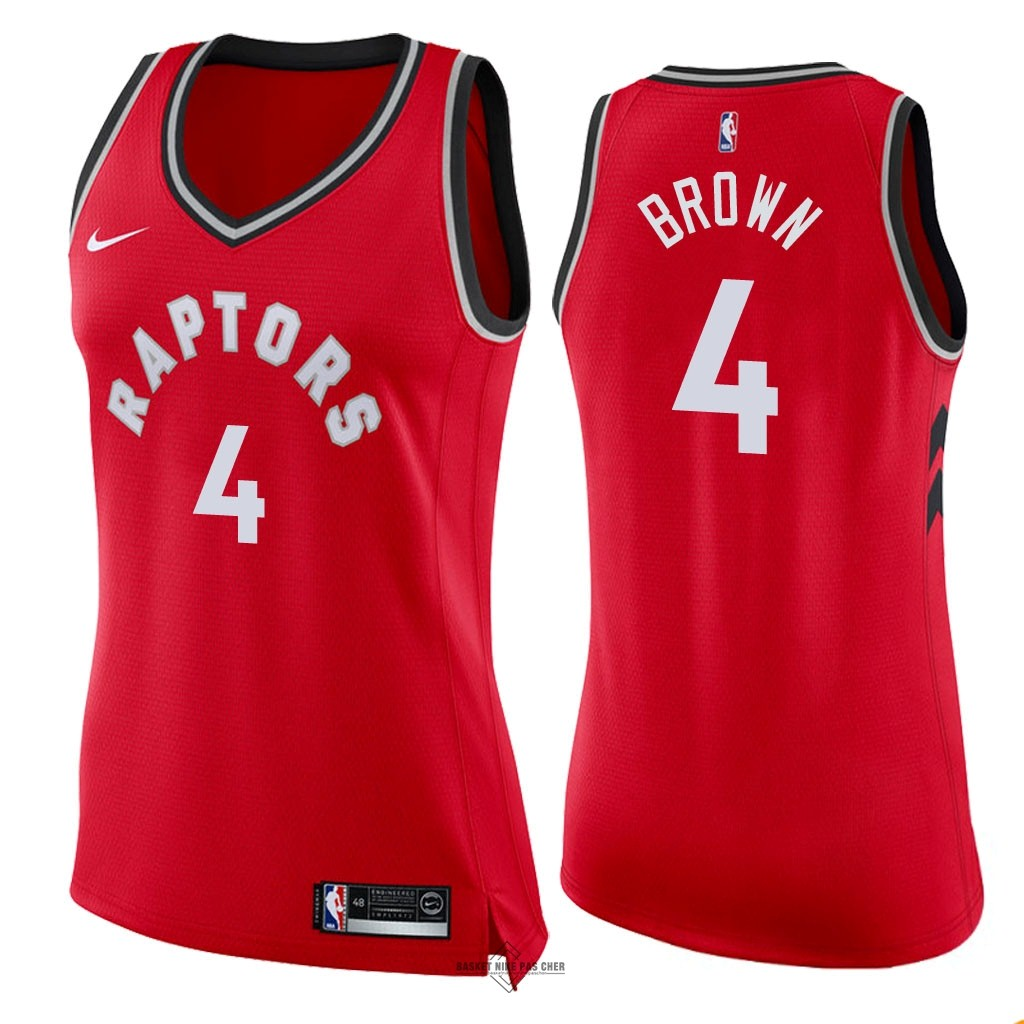 Maillot NBA Pas Cher - Maillot NBA Femme Toronto Raptors NO.4 Lorenzo Brown Rouge Icon 2018